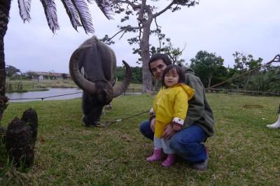 水牛と記念撮影